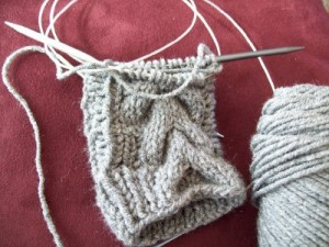 Twilight Mittens In Progress