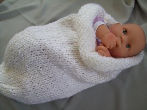 White Hand Knit Baby Cocoon